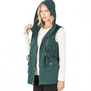 Metallic Print Shawls with Buttons Hunter Green Loose Fit Drawstring Waist Vest - X-Large