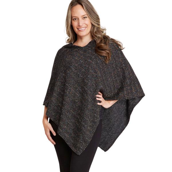 wholesale Poncho - Mottled Tweed 1691 Black Mottled Tweed Poncho 1691 - One Size Fits All