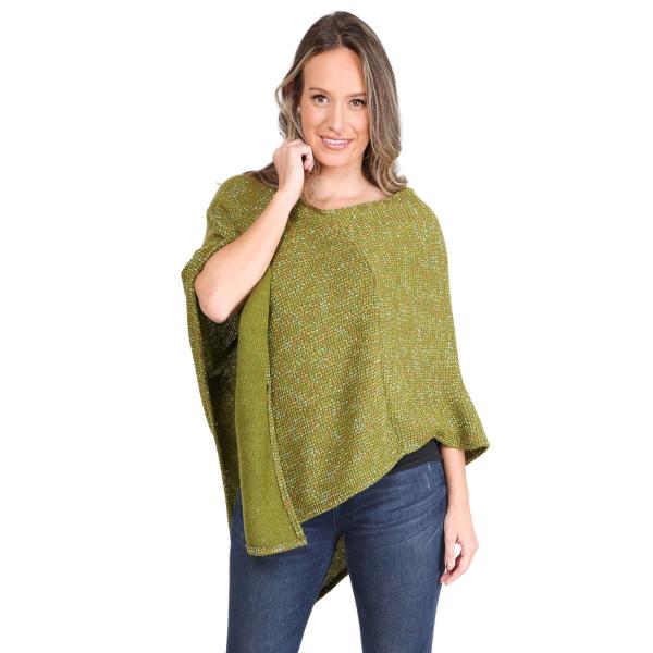 wholesale Poncho - Mottled Tweed 1691 Green Mottled Tweed Poncho 1691 - One Size Fits All