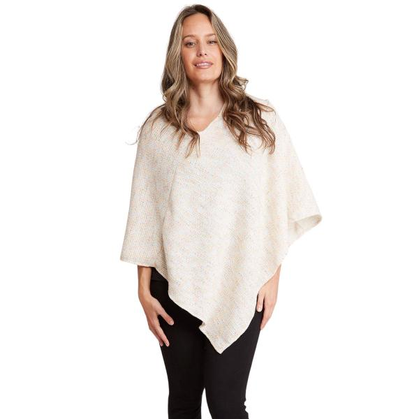 wholesale Poncho - Mottled Tweed 1691 Ivory Mottled Tweed Poncho 1691 - One Size Fits All