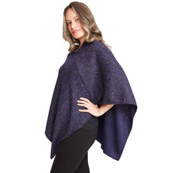 wholesale Poncho - Mottled Tweed 1691 Navy Mottled Tweed Poncho 1691 - One Size Fits All