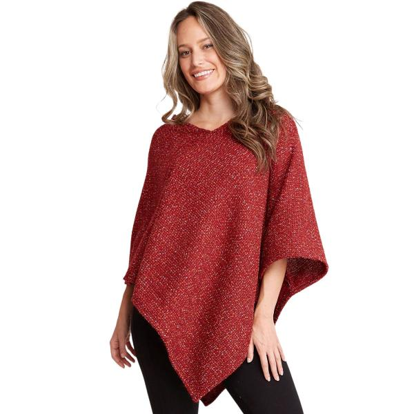 wholesale Poncho - Mottled Tweed 1691 Red Mottled Tweed Poncho 1691 - One Size Fits All