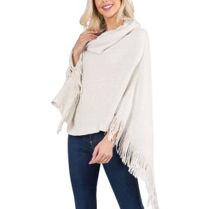 Metallic Print Shawls with Buttons Ivory Cowl Neck Sparkle Poncho 20D7 - One Size Fits All