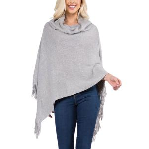 Metallic Print Shawls with Buttons Grey Cowl Neck Sparkle Poncho 20D7 - One Size Fits All
