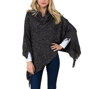 Metallic Print Shawls with Buttons Black Cowl Neck Sparkle Poncho 20D7 - One Size Fits All