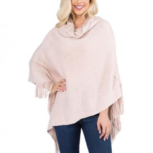 Metallic Print Shawls with Buttons Pale Pink Cowl Neck Sparkle Poncho 20D7 - One Size Fits All