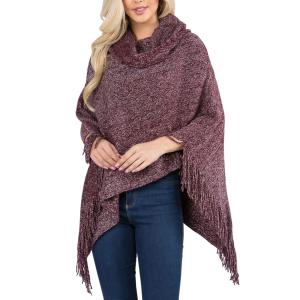 Metallic Print Shawls with Buttons Plum Cowl Neck Sparkle Poncho 20D7 - One Size Fits All