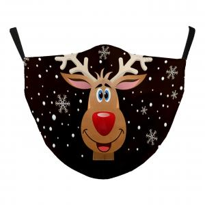 Wholesale  #115-16 Rudolph Face - Jessica w/ Filter Pocket - Christmas Theme Masks -