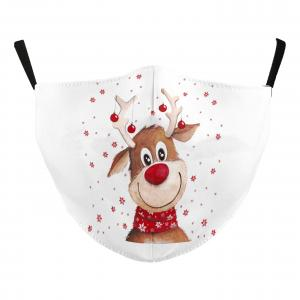 Wholesale  #115-21 Ornament Reindeer - Jessica w/ Filter Pocket - Christmas Theme Masks -