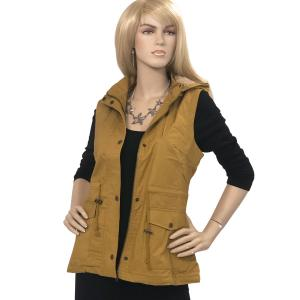Metallic Print Shawls with Buttons Dark Mustard Fur Lined Safari Vest 8557 - Medium