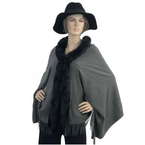 Metallic Print Shawls with Buttons Charcoal with Black Fur -