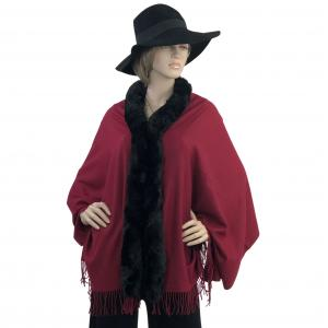 Metallic Print Shawls with Buttons Burgundy with Black Fur -