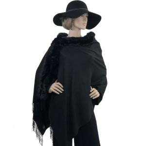 Metallic Print Shawls with Buttons Black with Black Fur -