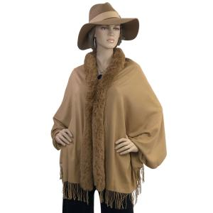 Metallic Print Shawls with Buttons Camel with Camel Fur -