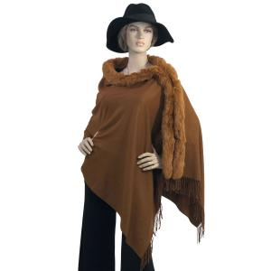 Metallic Print Shawls with Buttons Chestnut with Caramel Fur -