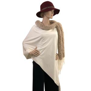Metallic Print Shawls with Buttons Ivory with Latte Fur -