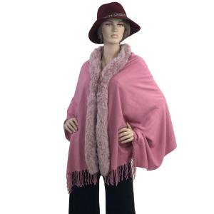 Metallic Print Shawls with Buttons Mauve with Dusty Pink Fur -