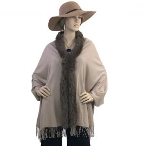 Metallic Print Shawls with Buttons Tan with Brown Fur -