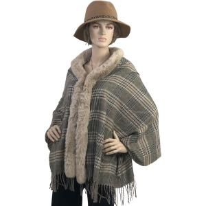 Metallic Print Shawls with Buttons #20 Plaid with Latte Fur -