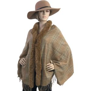 Metallic Print Shawls with Buttons #07 Plaid with Camel Fur -