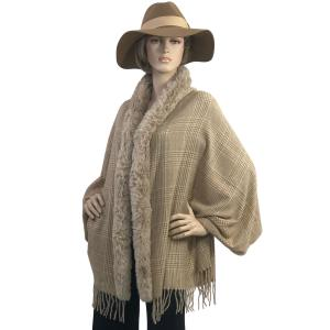 Metallic Print Shawls with Buttons #29 Plaid with Latte Fur -