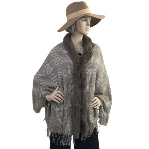 Metallic Print Shawls with Buttons #24 Plaid with Brown Mocha Fur -