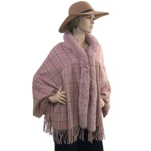 Metallic Print Shawls with Buttons #26 Plaid with Dusty Pink Fur -