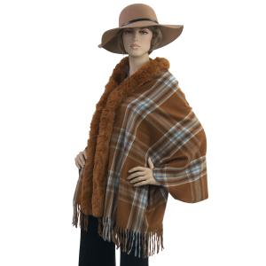Metallic Print Shawls with Buttons #22 Plaid with Caramel Fur -