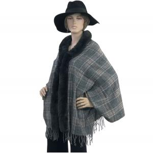 Metallic Print Shawls with Buttons #21 Plaid with Charcoal Fur -