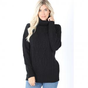 Wholesale  Black Cable Knit Turtleneck Sweater 21043 - L