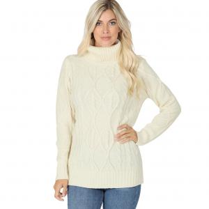 Wholesale  Cream Cable Knit Turtleneck Sweater 21043 - X-Large