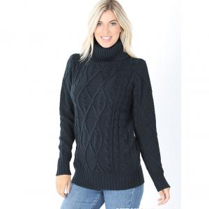 Wholesale  Midnight Navy Cable Knit Turtleneck Sweater 21043 - Large