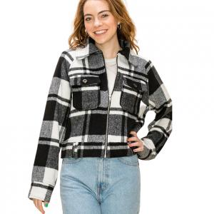 Zip Up Jacket Black and White Plaid - L