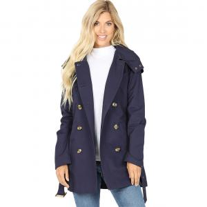 Metallic Print Shawls with Buttons Navy Double Breasted Trench Coat 2665 - X-Large