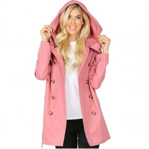 Metallic Print Shawls with Buttons Dusty Rose Double Breasted Trench Coat 2565 - X-Large
