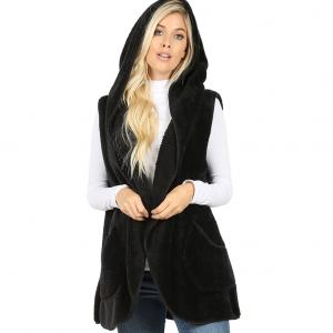 Metallic Print Shawls with Buttons Black Hooded Faux Fur Vest with Side Pockets 2613 - Medium