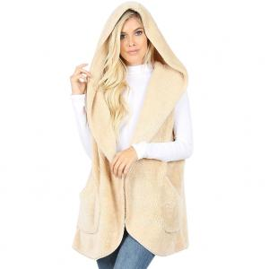 Metallic Print Shawls with Buttons Cream Hooded Faux Fur Vest with Side Pockets 2613 - Large