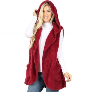 Metallic Print Shawls with Buttons Cabernet Hooded Faux Fur Vest with Side Pockets 2613 - Medium