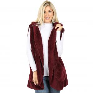 Metallic Print Shawls with Buttons Dark Burgundy Hooded Faux Fur Vest with Side Pockets 2613 - Medium