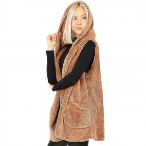 Metallic Print Shawls with Buttons Eggshell Hooded Faux Fur Vest with Side Pockets 2613 - X-Large