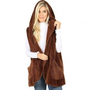 Metallic Print Shawls with Buttons Light Brown Hooded Faux Fur Vest with Side Pockets 2613 - Medium