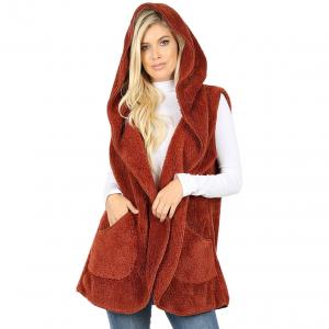Metallic Print Shawls with Buttons Dark Rust Hooded Faux Fur Vest with Side Pockets 2613 - Small