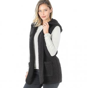 Wholesale  Black - Sherpa Hooded Vest 75021 - Large