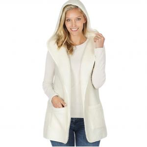 Metallic Print Shawls with Buttons Ivory  - Sherpa Hooded Vest 75021 - Small