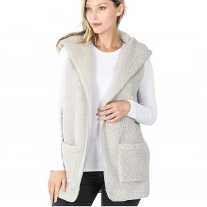 Metallic Print Shawls with Buttons Light Grey - Sherpa Hooded Vest 75021 - Large