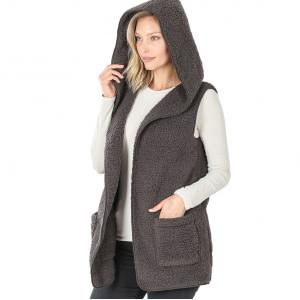 Wholesale  ASH GREY - Sherpa Hooded Vest 75021 - Large