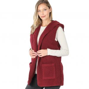 Wholesale  DARK BURGUNDY - Sherpa Hooded Vest 75021 - X-Large