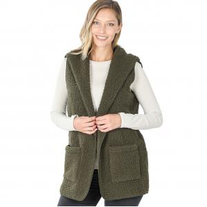 Wholesale  DARK OLIVE - Sherpa Hooded Vest 75021 - Large