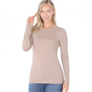 Wholesale  Ash Mocha Brushed Fiber - Round Neck Long Sleeve 2053 - X-Large