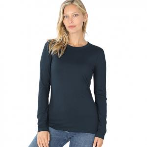 Metallic Print Shawls with Buttons Midnight Navy Brushed Fiber - Round Neck Long Sleeve 2053 - Medium